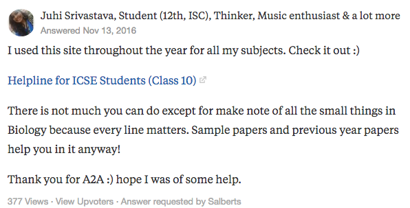 """Juhi Srivastava's answer to """"Which is the best site for studying biology class 10 ICSE?"""" on Quora 