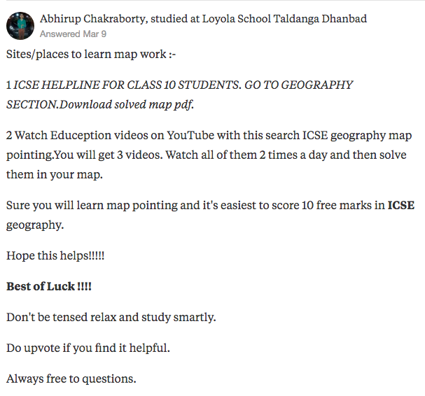 "Abhirup Chakraborty's answer to ""From where should we learn the map work for the ICSE 10th geography exams?"" on Quora 