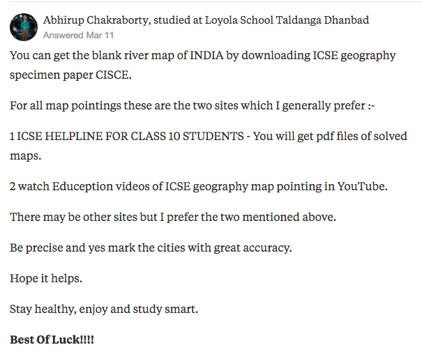 "Abhirup Chakraborty's answer to ""How can I get latest maps for ICSE 2018 exam frank geography textbook?"" on Quora 