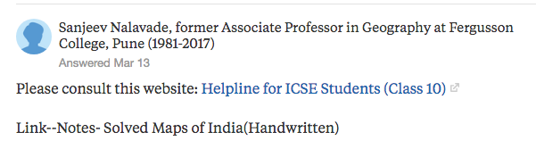 "Sanjeev Nalavde's answer to ""In tomorrow's geography ICSE exam where we have to do the map markings inside India or outside the map by showing index or key?"" on Quora 