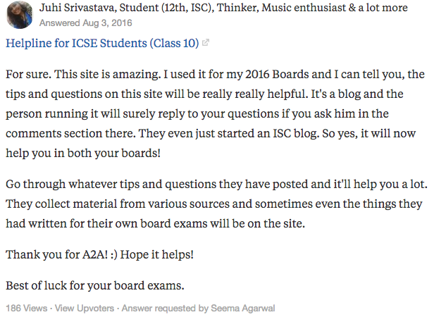 "Juhi Srivastava's answer to ""Which website will you suggest for revising ICSE stuff online?"" on Quora 
