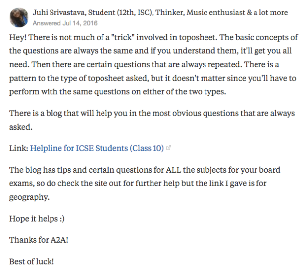 "Juhi Srivastava's answer to ""What is the trick for doing topo sheet for ICSE class X?"" on Quora 