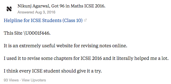 "Nikunj Agarwal's answer to ""Which website will you suggest for revising ICSE stuff online?"" on Quora 